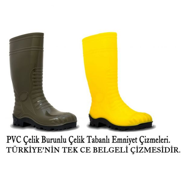 PVC Çelik Burunlu Ve Çelik Tabanlı Çizme